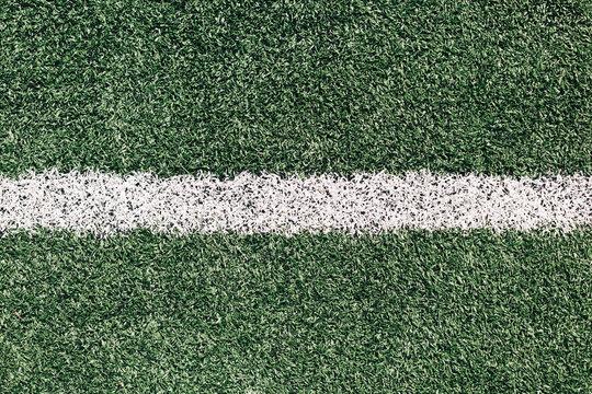 White line on grass sports field