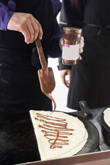 nutella crepe at an outdoors food stall