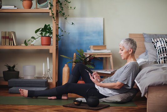 Woman Using a Tablet at Home
