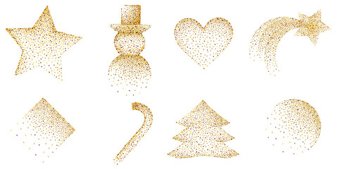 golden christmas ornaments with glitter design