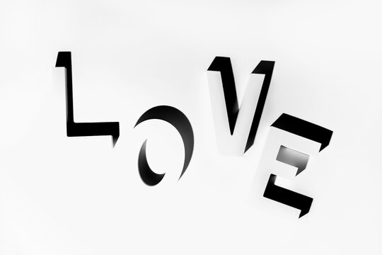 The word Love written with shadows