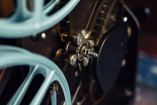 Traction wheel on an old 16mm movie projector