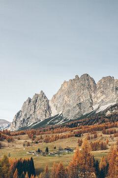 autumnal landscape in the italian alps - dolomites - cortina dÔøΩmpezzo