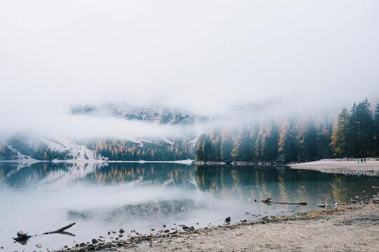 Lake Braies at fog