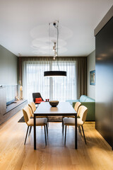 Modern kitchen and dining room in contemporary interior