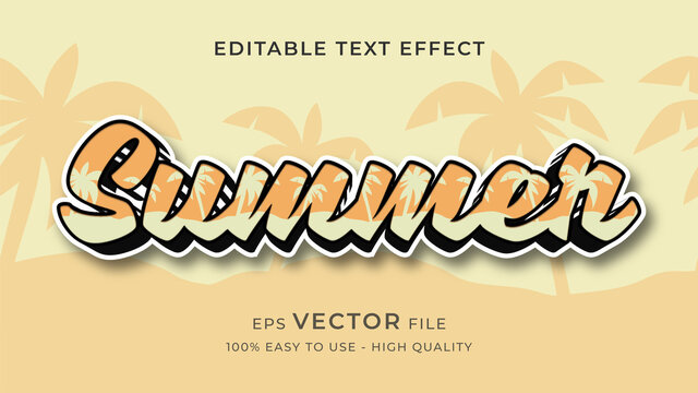 summer vibes editable text effect concept