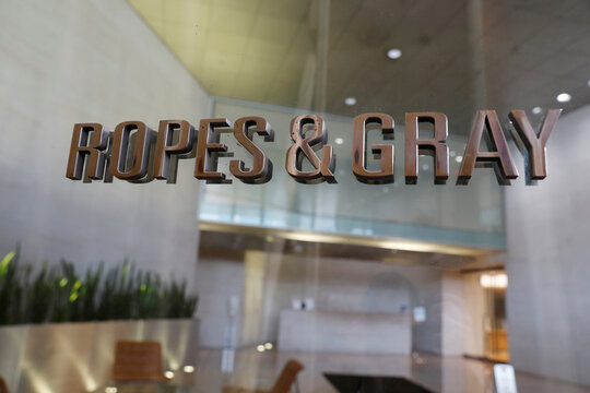 The logo of law firm Ropes & Gray LLP is seen outside of their office in Washington, D.C.