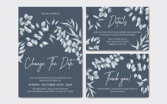Luxury floral postponed wedding invitation card