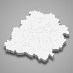 3d map of Lodz voivodeship is a province of Poland,