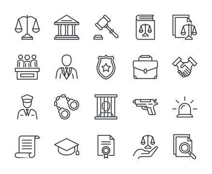 Law line icons set vector illustration. Editable stroke