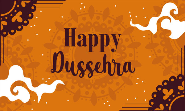 happy dussehra festival of india, traditional religious ritual lettering card