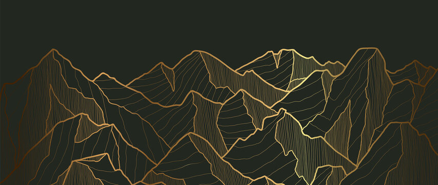 Golden mountains art deco isolated on black background. Luxury wallpaper design with gold foil shiny sketch of mountain Landscape. Vector illustration