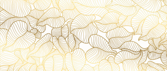 Obraz Luxury golden art deco wallpaper. Nature background vector. Floral pattern with golden split-leaf Philodendron plant with monstera plant line art on white  background. Vector illustration. - fototapety do salonu