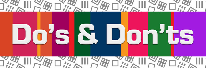 Dos And Donts Grey Squares Background Colorful Stripes Horizontal
