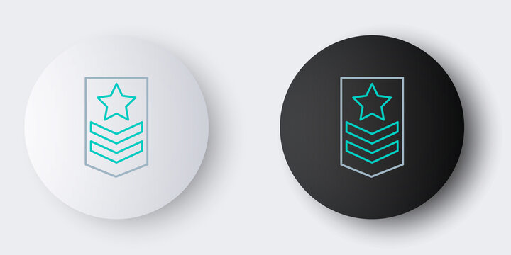 Line Chevron icon isolated on grey background. Military badge sign. Colorful outline concept. Vector.