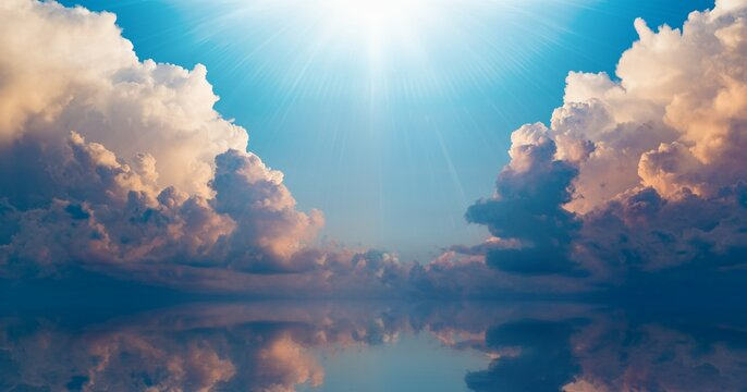 Bright light from heaven, light of hope and happyness from skies.