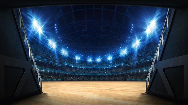 Stadium tunnel leading to playground. Players entrance to illuminated basketbal arena full of fans. Digital 3D illustration background for sport advertisement.