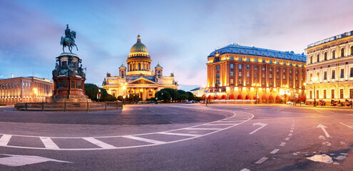 Panorama of Saint Petersburg night city skyline at Saint Isaac Cathedral, Russia