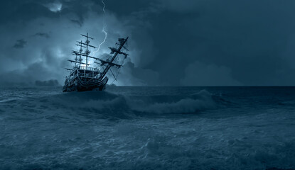 Photo sur Plexiglas Navire Sailing old ship in storm sea on the background heavy clouds with lightning