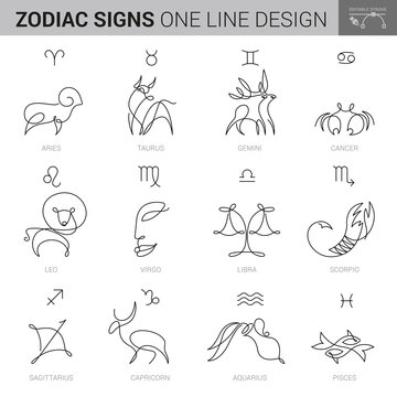 HAND DRAWN ZODIACAL SIGNS IN INK STYLE