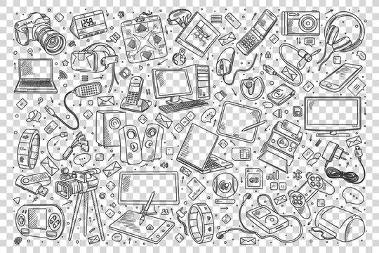 Gadgets doodle set