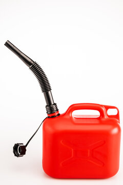 red gasoline jerrycan on white background