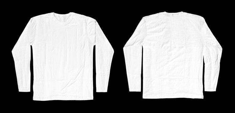long-sleeved white t-shirts for mockups. plain t-shirt with black background for design preview.
