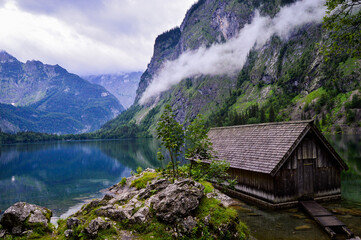 Beautiful shot of a wooden house in Berchtesgaden National Park in Ramsau, Germany