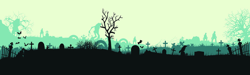 Halloween cemetery landscape with monsters. A party with monsters. Panorama. Flat design. Vector illustration