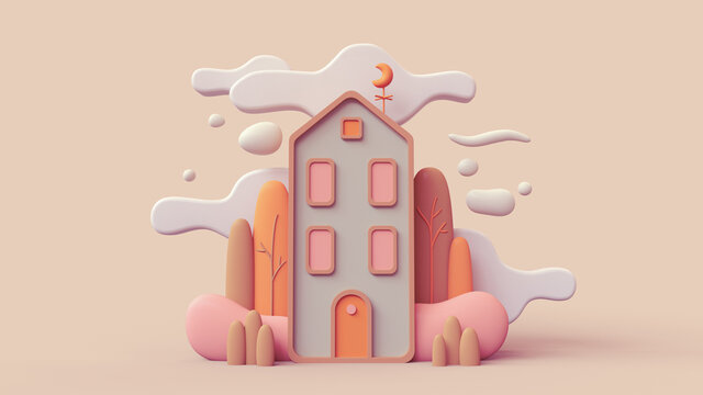 Cute green cozy Eco House with bushes, tall trees, white clouds. Sweet home. Stay Home. Modern house with red windows, orange door. Concept art Autumn mood in fall season. 3d render in pastel colors.