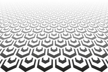 Abstract geometric hexagons pattern. Diminishing perspective. Fotobehang