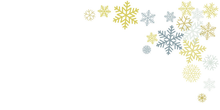 Christmas snowflakes background with place for text. Winter gold and silver snow minimal frame decoration on white, greeting card. New Year Holidays subtle backdrop. Vector illustration