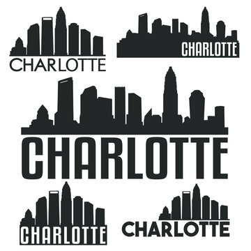 Charlotte North Carolina USA Flat Icon Skyline Silhouette Design. City Vector Art Famous Buildings Color Set.