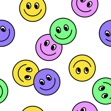 Seamless pattern of Colourful Happy face icon. Smiling Emoticon texture. Smile background. Smile Face icon all over print. Isolated Happy Faces.