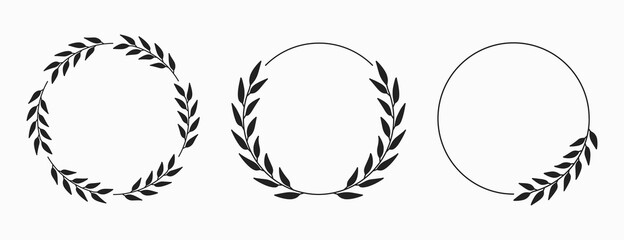 Set of laurel wreath circle borders. Decorative vector elements.