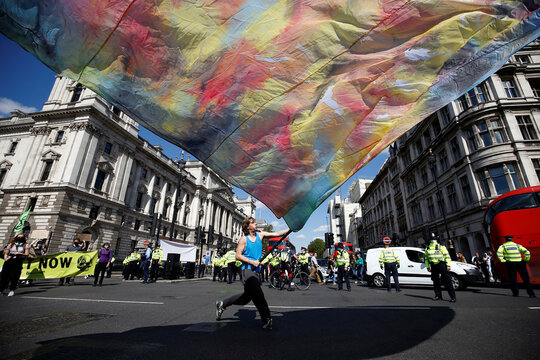 Extinction Rebellion climate activists protest in London