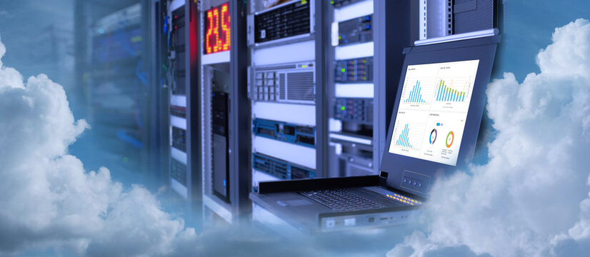 Concept is Business Cloud Technology in a technology data center room and on monitor show graph information of network traffic and status of device