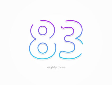 83 number, outline stroke gradient font. Trendy, dynamic creative style design. For logo, brand label, design elements, application and more. Isolated vector illustration