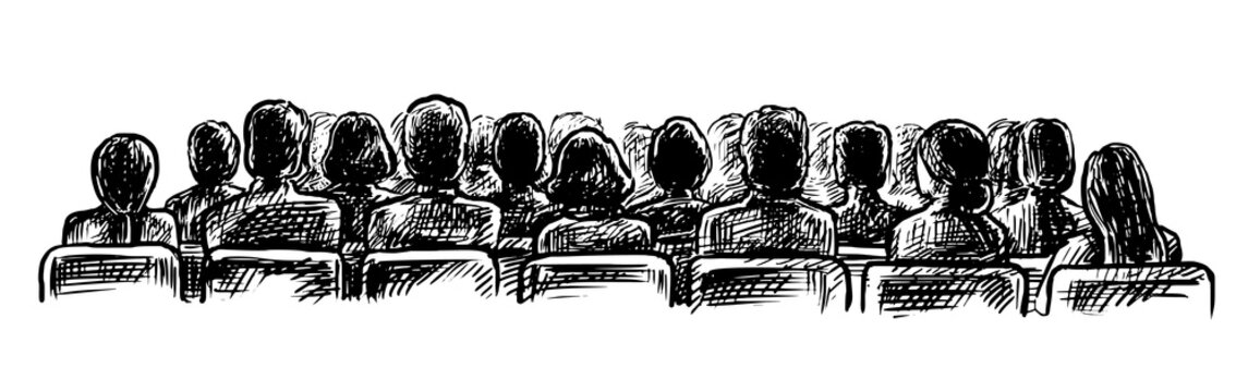 Lecture hall sketch. Vector people audience on seat watching performance, listening speech at lecture hall sketch view from back illustration. Vintage doodle hand drawn sketch isolated on white back