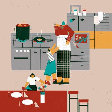 Grandparent and children doing kitchen chores together