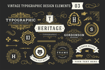 Obraz Vintage typographic decorative ornament design elements set vector illustration - fototapety do salonu
