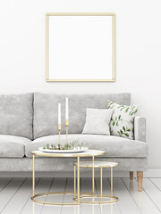 Square poster mockup with wooden frame in living room interior with grey sofa and minimalist Christmas decoration. 3d rendering, illustration.