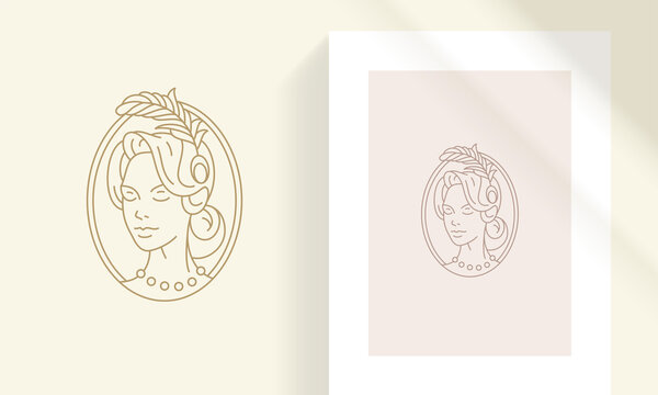 Vintage woman in oval frame silhouette linear vector illustration.