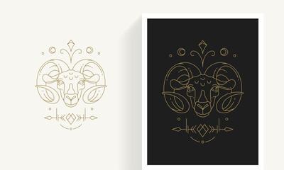Zodiac aries horoscope sign line art silhouette design vector illustration.