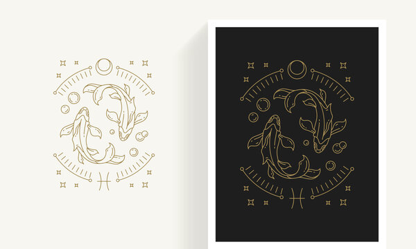 Zodiac pisces horoscope sign line art silhouette design vector illustration.