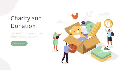 Team Volunteers working and helping in Charitable Foundation. Characters Collecting Food, Clothes and Money in Donation Box. Volunteering and Charity Concept. Flat Isometric Vector Illustration.