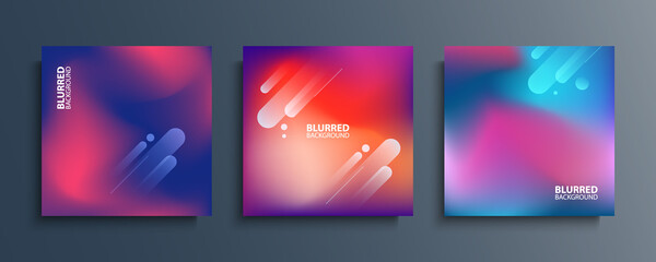 Blurred backgrounds set with modern abstract blurred color gradient patterns. Smooth templates collection for covers, posters, banners and cards. Vector illustration.