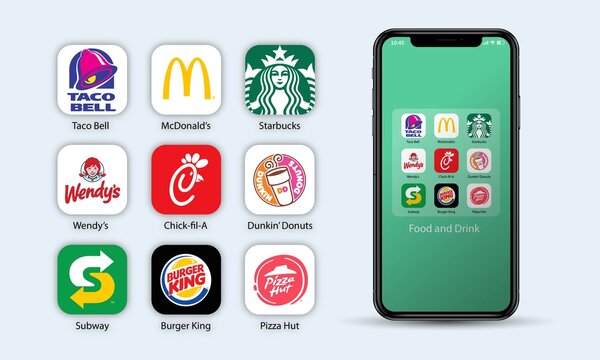 Vecor illustration of popular food and drink application on apple iphone, smartphone. For editorial use.