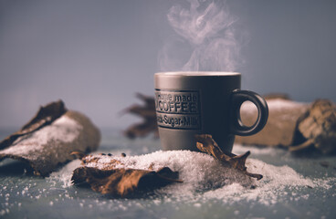 Photo sur Plexiglas Cafe cup of hot coffee with steam
