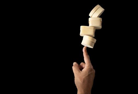 Hand balancing wooden boxes